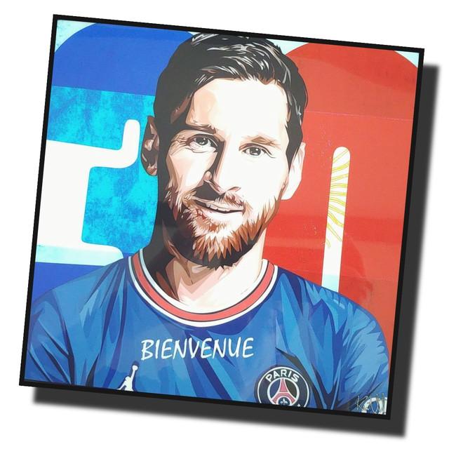 リオネル・メッシ パリサンジェルマン PSG サッカーアートパネル 木製 壁掛け ポスター グラフィックアート  ポップアート