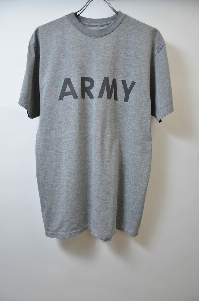 【Mサイズ寸】U.S.ARMY ユーエス アーミー TRAINING TEE トレーニングTシャツ GRAY グレー INKシミ有 400601190625
