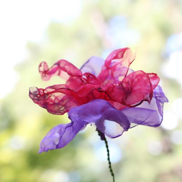 カラフルオーガンジーのアートフラワー【造花】 オレンジとピンク