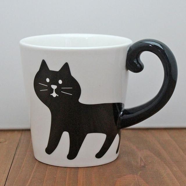 【concombre】しっぽマグ(黒猫)【猫 猫柄 マグカップ 828-840】