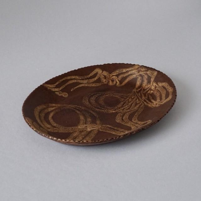 十場天伸 / 漆塗り楕円皿