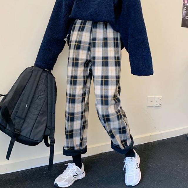 【送料無料】 あったかパンツ♡ チェック柄 裏起毛 アンクル丈 ラフ カジュアル パンツ ウエストゴム