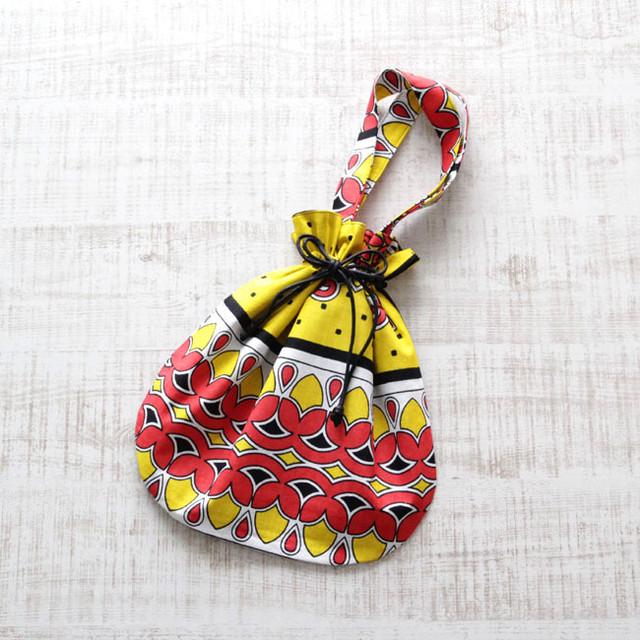 カンガの巾着バッグ|アフリカ布 / インナーバック