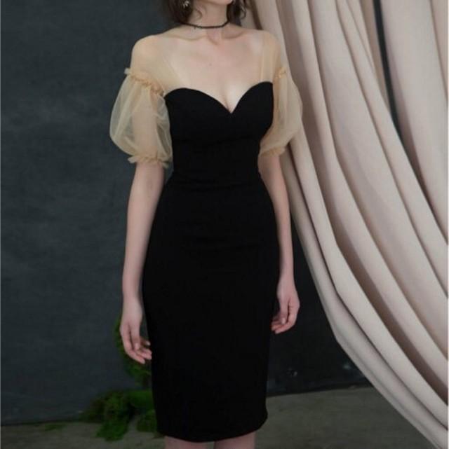 <即納>バイカラー バルーンショルダー タイトスリットドレス パーティードレス ブラック