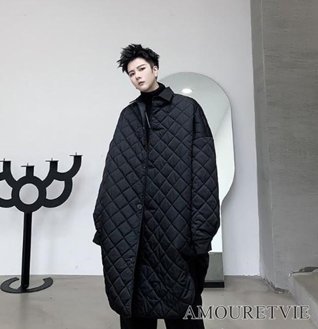 メンズ キルティングコート ジャケット カジュアル 黒 ブラック ダーク スタイリッシュ モダン オルチャン 韓国ファッション 1200