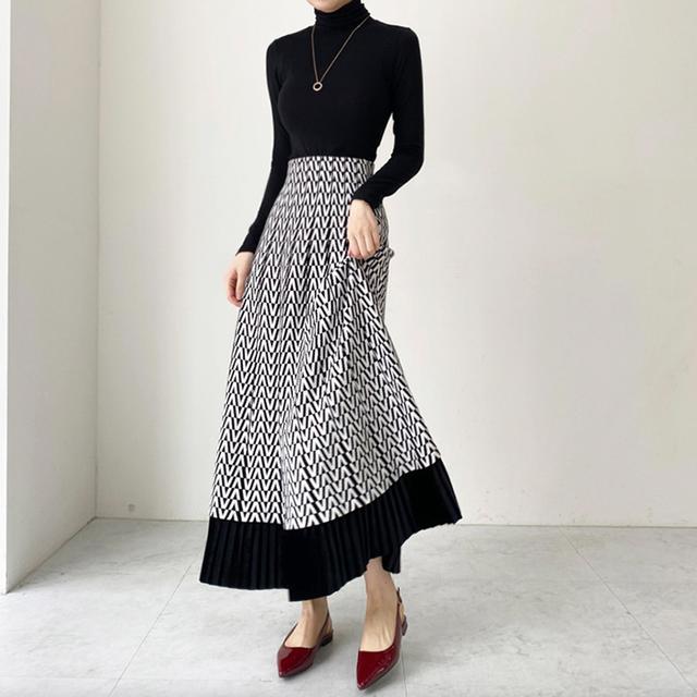 幾何学Aラインニットスカート*2color 100070