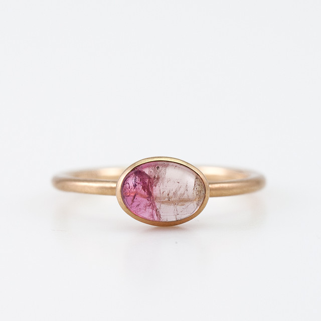 Bicolor tourmaline ring / Cabochon