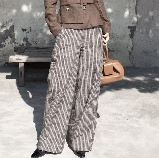P6365 パンツ ワイドパンツ ハイウエスト ワイドパンツ ストライプ パンツ 美脚パンツ 体型カバー ロングパンツ ロングワイドパンツ 通勤 上品 きれいめ 20代 30代 40代