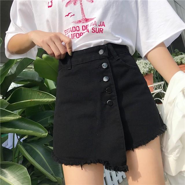 【ボトムス】ハイウエストの不規則なスプリットスカートデニムショートパンツ18084046