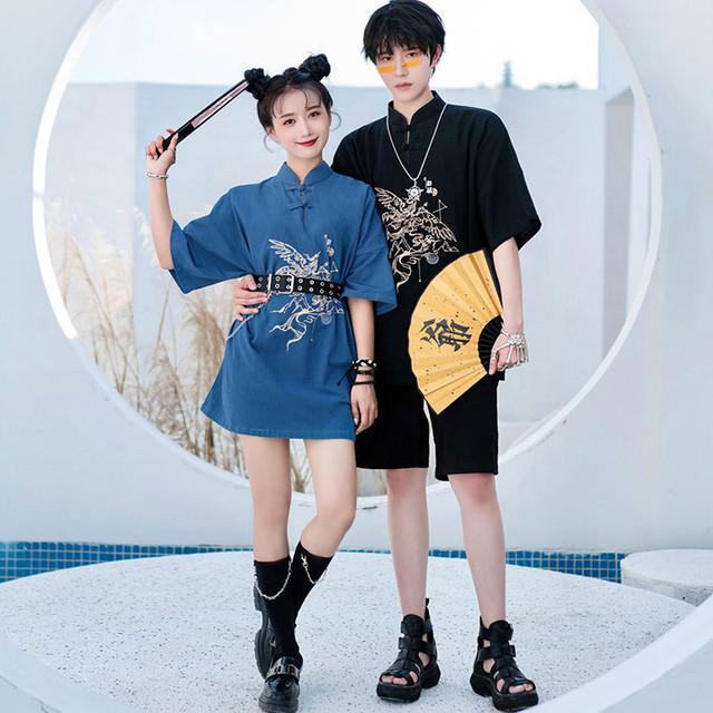 【卿棠シリーズ】★チャイナ風Tシャツ★ 2color 黒or青 トップス 刺繍 棉麻 ファッション オリジナル かっこいい
