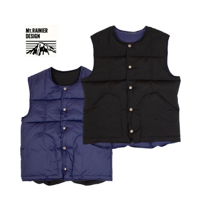 MT.RAINIER DESIGN | Reversible No Collar Down Vest - Black [700070194]