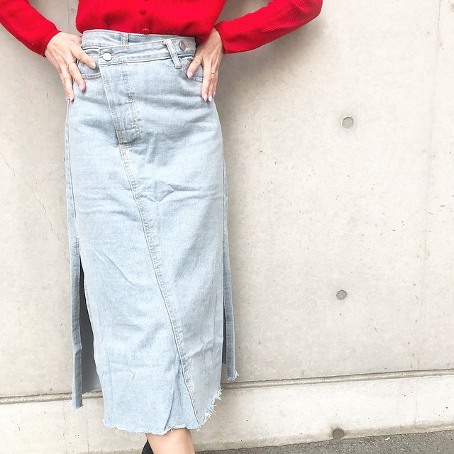 ◆予約◆side slit denim skirt