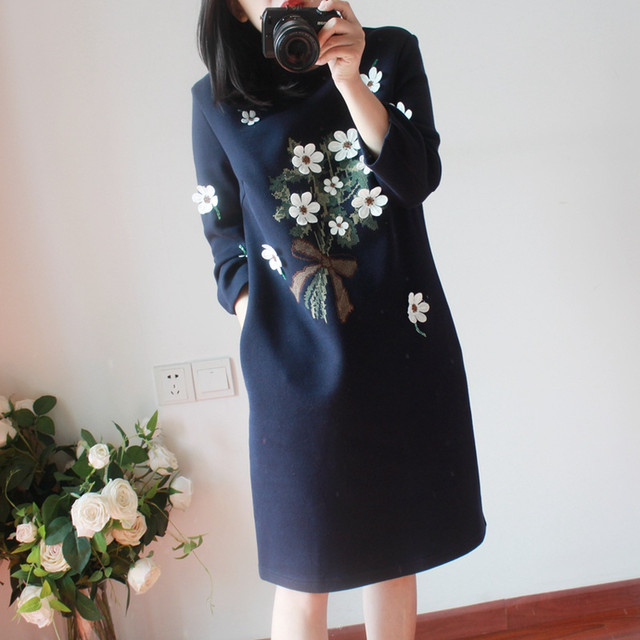 【dress】Round neck long sleeves print casual dress