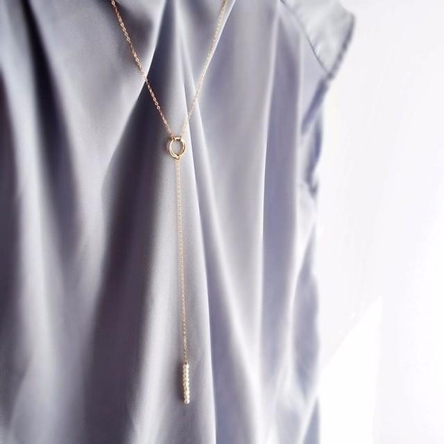 淡水パール×ゴールドのYラインロングネックレス