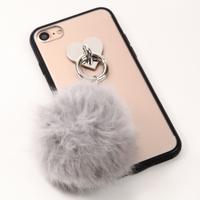 【即納★送料無料】縁ブラッククリアケースにトレンドのファー付 iPhoneケース