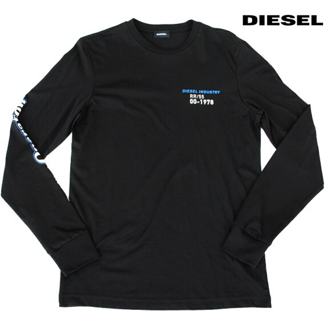 DIESEL ディーゼル Tシャツ 長袖 プリント Tシャツ ロンT メンズ T-DIGO-LS-K25 BLACK 2021年秋冬モデル