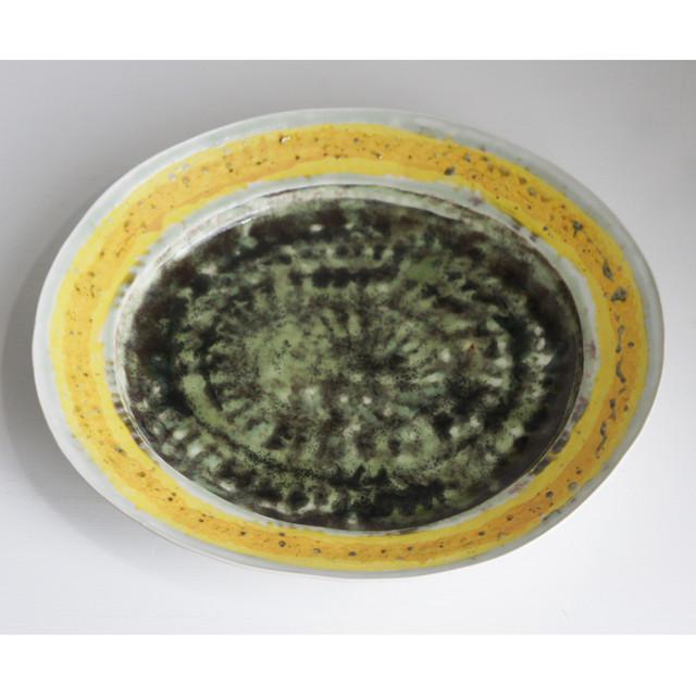 緑彩黄線オーバル皿