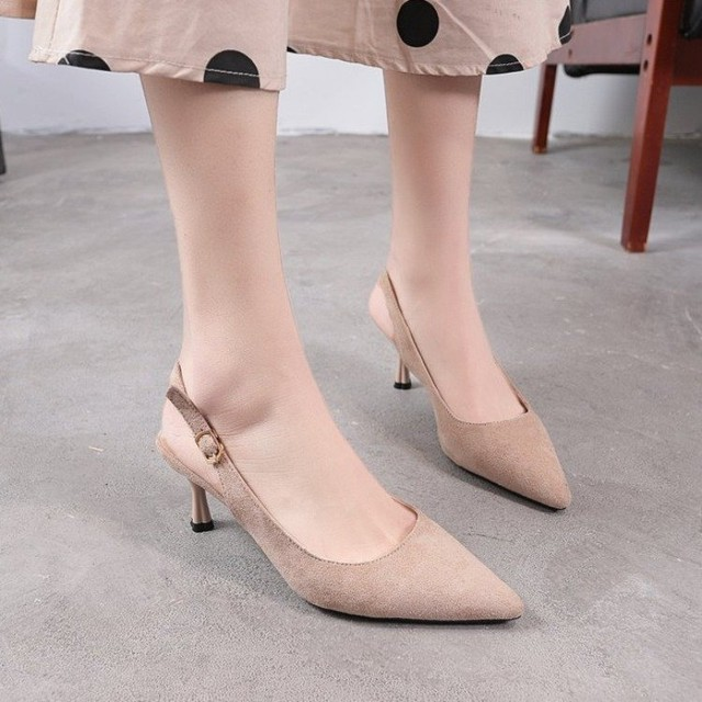【shoes】OL浅い口切り替えチュール透かし彫りパンプス 22448163