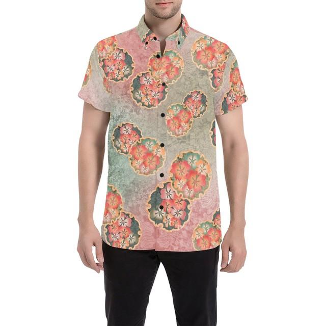 桜家紋蝶 和柄アロハシャツ