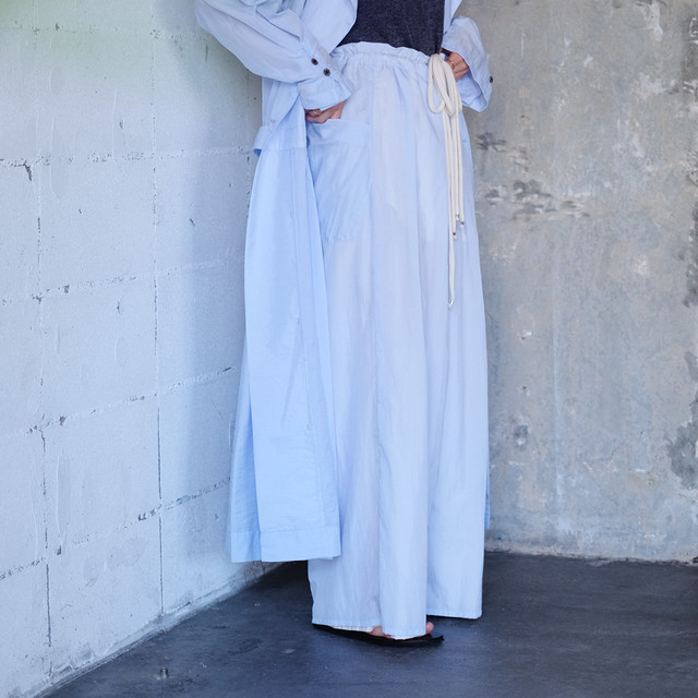 Reversible wide pants  [ Pale blue × Pale pink ]
