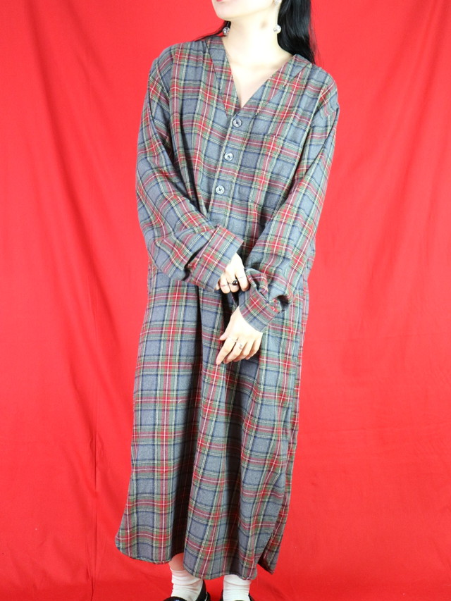 L.L.Bean plaid cotton  dress【0340】