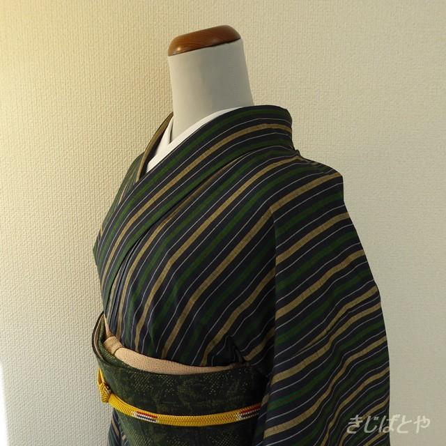 正絹紬 紺地に縞の小紋 袷の着物