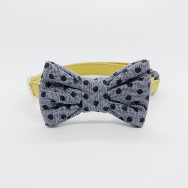 猫 首輪 リボン マスタード×グレー 黒の水玉 USAコットン Robert Kaufman Fabrics