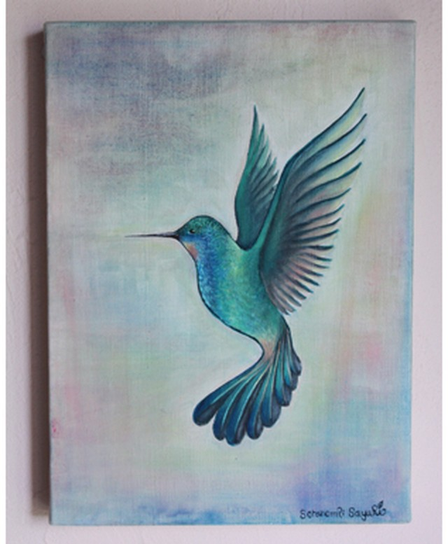 ソラノモリSayuRi オリジナル アート 原画  Hamming Bird