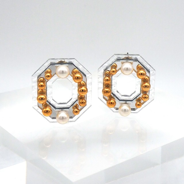 OLIVIA   MIRROR EARRINGS  (CLEAR/SILVER ピアス)