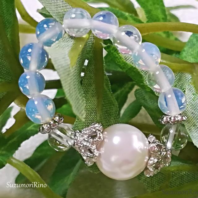 【リング】天然石パワーストーンリング(指輪)-シェルパール・水晶-(ring-004)