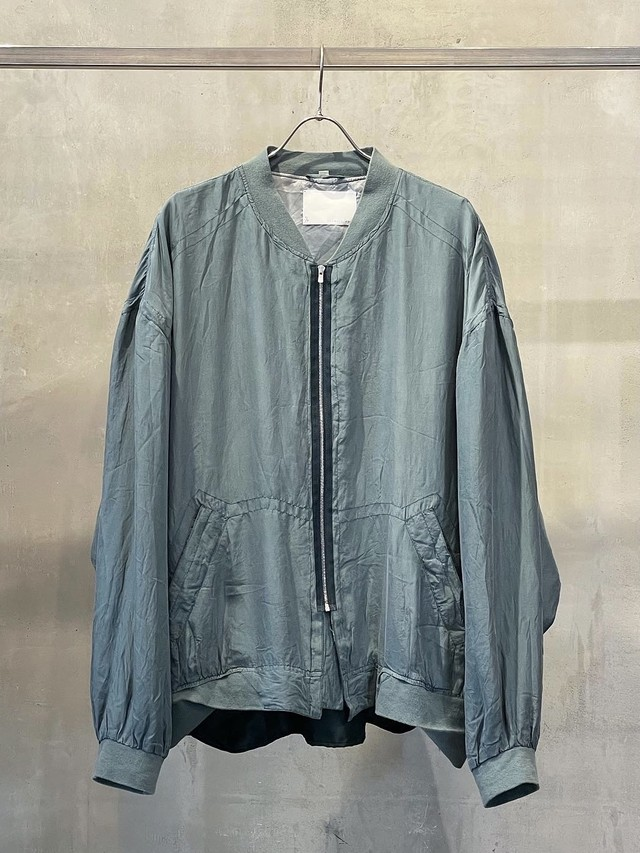 TrAnsference reshaped sheer silk fabric loose fit blouson - fade lime / garment dyed effect