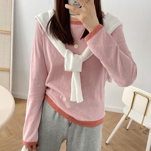 【トップス】シンプル 差し色 長袖 カジュアル トップス ラウンドネック Tシャツ42940747