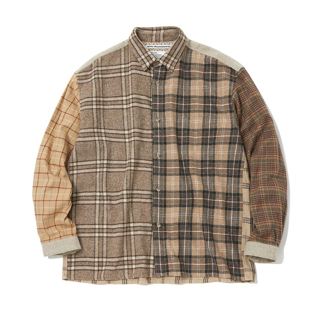 CONTRASTED BIG CHECK SHIRT - BEIGE