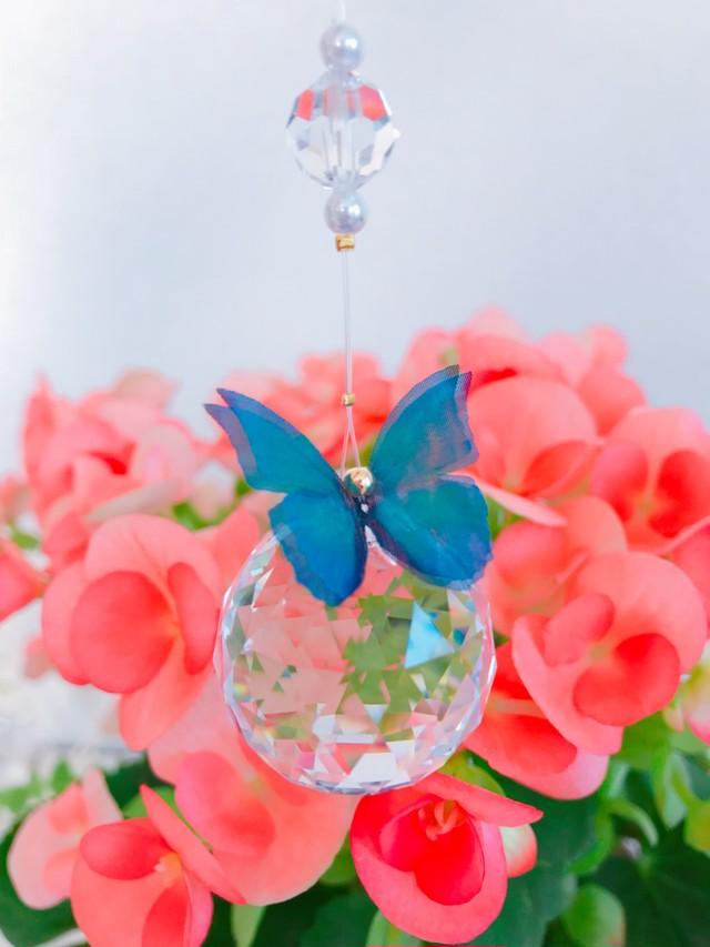 《窓用》スワロフスキー・サンキャッチャー~幸せの青い蝶~(44cm)