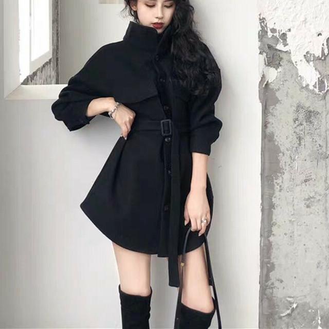 【アウター】ファッションベルト付きPOLOネックシングルブレストコート23515376