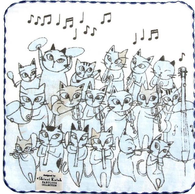 タオルハンカチ 猫のオーケストラ/ブルー