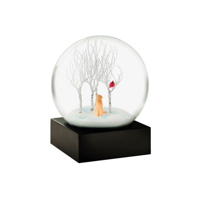 "Cool Snow Globes ""Lab in the woods"""