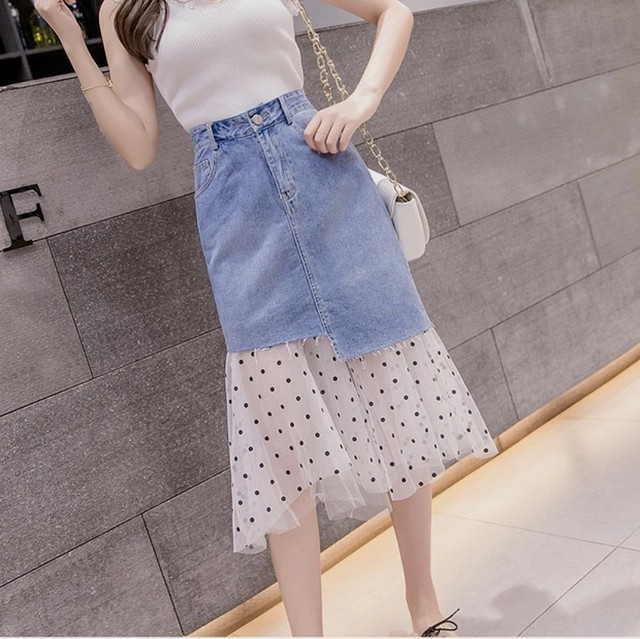 dot tulle denim skirt