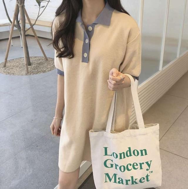 【送料無料】レトロコーデ♡ バイカラー ポロシャツ風 ミニワンピース