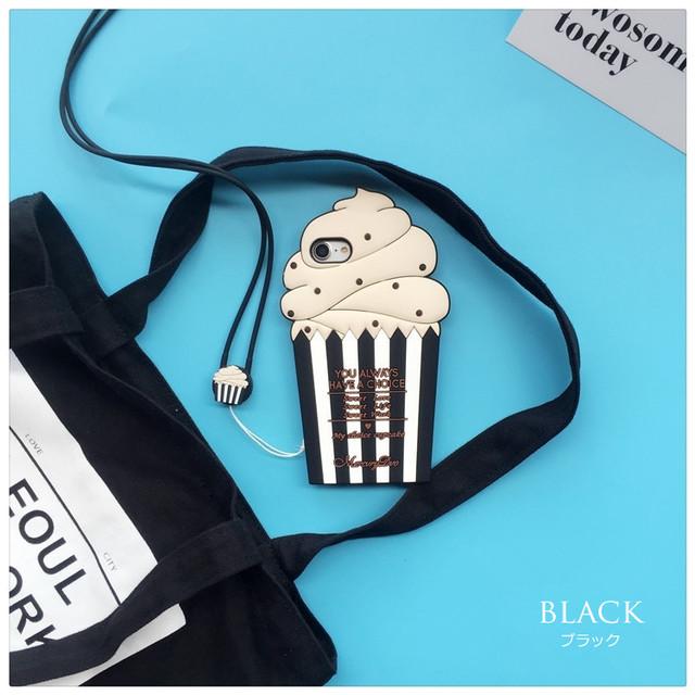 ポップな<ブラック>アイスカップデザイン(SPCa0017BK)◆スマホケース/iPhoneケース