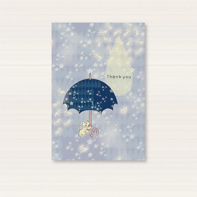 【ポストカード】PC15月の光が集まって現れるねこ達の傘のポストカード
