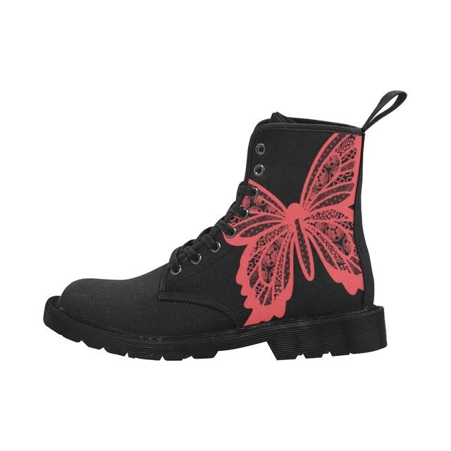 家紋透かし蝶 和色紅赤 メンズ&レディースマーチンブーツ