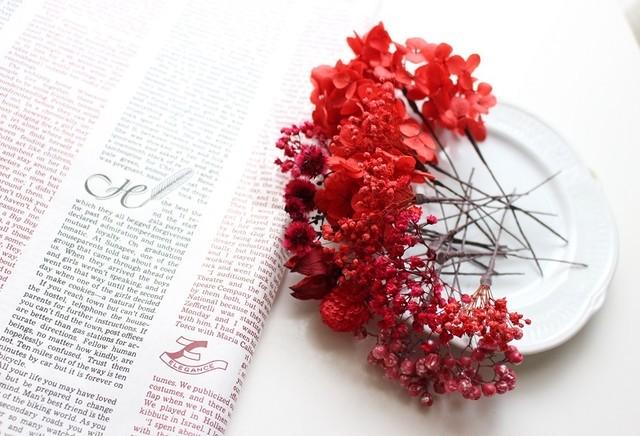 ドライフラワー ヘッドパーツ15輪以上♥赤レッド♥ウェディング 成人式 卒業式 髪飾り♥