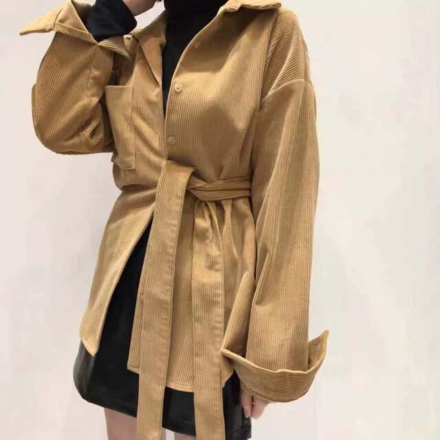 P6442 コーデュロイ シャツ シャツブラウス ロングシャツブラウス ベルト付き オーバーサイズ 羽織り チュニック シャツ 大人カジュアル 韓国 ファッション 春 秋 冬 10代 20代 30代 40代 イエローブラウン