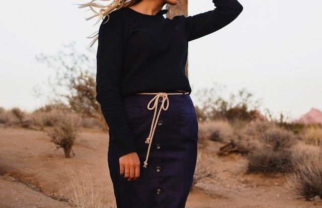 Joshua Ave Button-down Skirt Navy