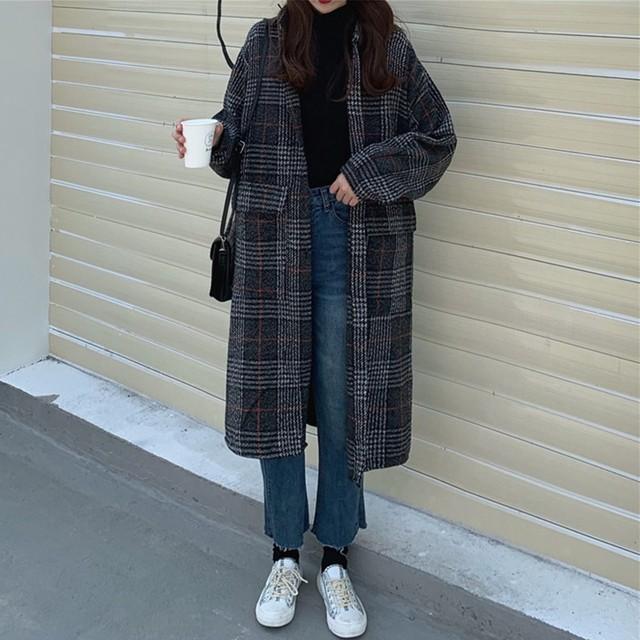 【アウター】チェック柄カジュアル折り襟長袖トレンチコート24943013