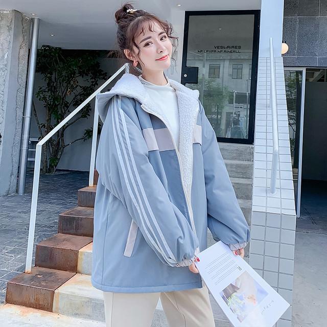 アウター 中綿コート ジャケット 韓国風 着痩せ 長袖 ジッパー フード付き 大きいサイズ S M L LL 3L ゆったり 合わせやすい 配色 ストライプ柄 縞模様 縦縞 激安 秋冬 厚て 暖か ブルー 青い