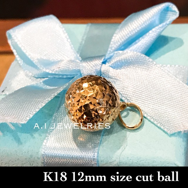 K18 18金 直径12mm ミラー カット ボール ペンダント cut ball pendant