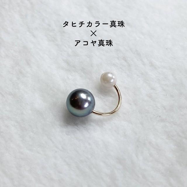(14KGF)アコヤ真珠(ピーコックカラー)とシェル真珠のイヤーカフス