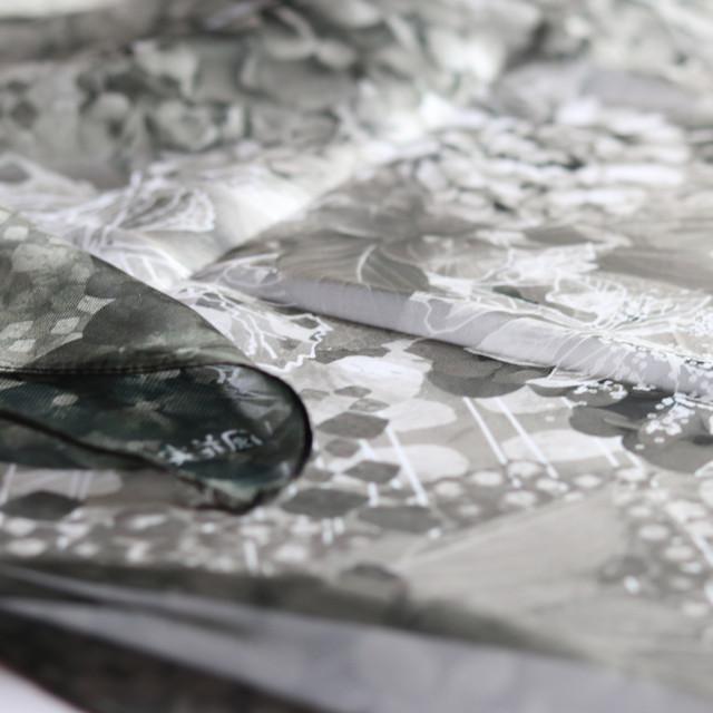【シフォンスカーフ】水の器紫陽花浮かべて(セピア)